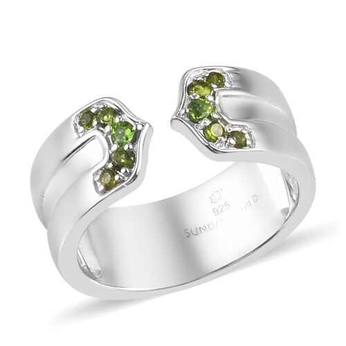 Sundays Child - Russian Diopside Ring in Platinum Overlay Sterling Silver