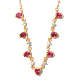 African Ruby and Natural Cambodian Zircon Necklace (Sie 18) in 14K Gold Overlay Sterling Silver 3.50