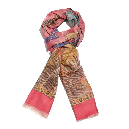 Pink and Multi Colour Autumn Leaves Pattern Jacquard Scarf with Fringes (Size 190X70 Cm)