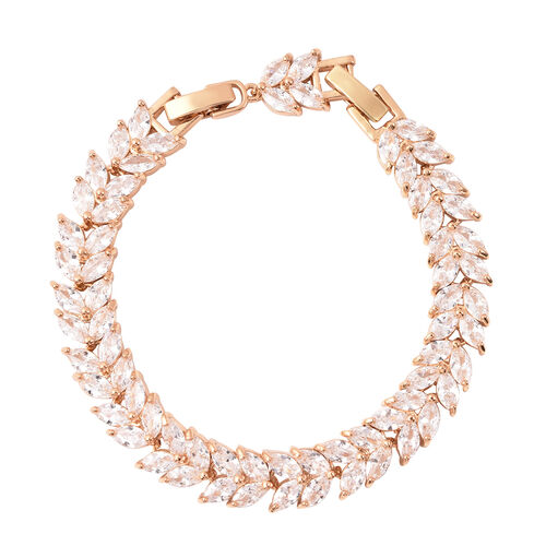 Simulated Diamond Bracelet (Size 6 with 1 inch Extender) in Yellow Gold Tone