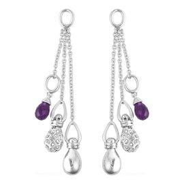 RACHEL GALLEY Mystic Collection Amethyst Dangle Earrings (with Push Back) in Rhodium Overlay Sterlin