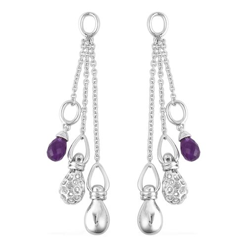 RACHEL GALLEY 3.62 Ct Amethyst Dangle Earrings in Rhodium Plated Sterling Silver 14.69 Grams