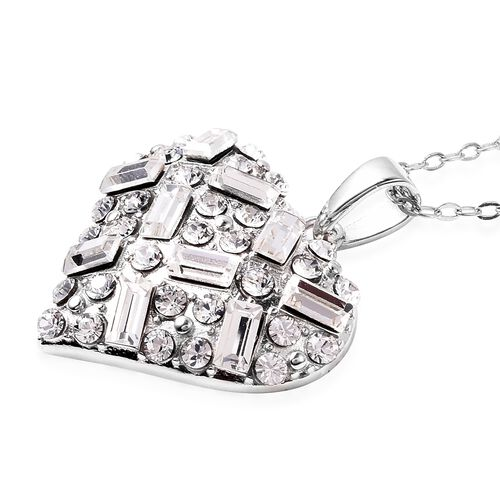 J Francis - Crystal from Swarovski White Crystal (Rnd and Bgt) Heart Pendant with Chain (Size 18) in Rhodium Overlay Sterling Silver, Silver wt 7.47 Gms