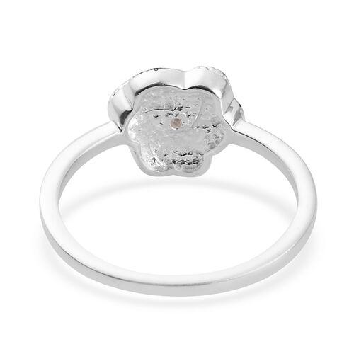 Blue Diamond  Swirl Design Ring in Sterling Silver