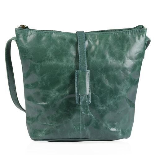 100% Genuine Leather RFID Blocker Olive Green Colour Crossbody Handbag (Size 29X24X4 Cm)