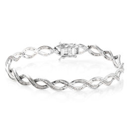 Diamond (Bgt) Bracelet (Size 7.75)  in Platinum Overlay Sterling Silver 2.000  Ct, Silver wt 13.88 Gms.