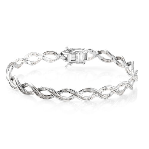 One Time Close Out Deal- Diamond (Bgt) Bracelet (Size 7.75)  in Platinum Overlay Sterling Silver 2.000  Ct, Silver wt 13.88 Gms, Number of Diamond 447
