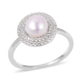 Freshwater White Pearl and Simulated Diamond Halo Ring in Rhodium Plated Sterling Silver