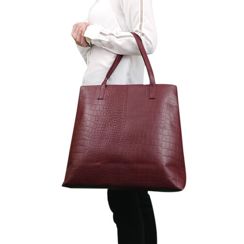 Assots London FREYA Burgundy Semi Structured Unlined Croc Leather Tote Bag