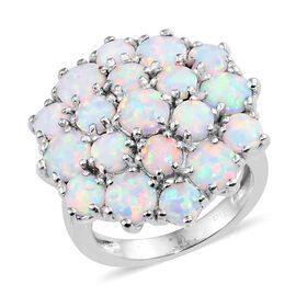 One Time Deal- Designer Inspired Simulated Coober Pedy Opal (Rnd) Cluster Ring in Silver Plated