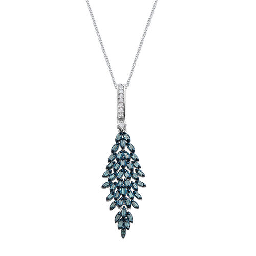 Blue Diamond (Bgt), White Diamond Pendant with Chain in Platinum Overlay Sterling Silver 0.500 Ct.
