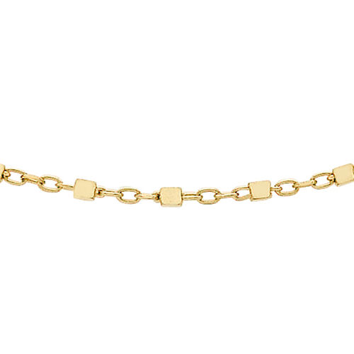 9K Yellow Gold Cube Link Trace Chain (Size 18), Gold wt 1.70 Gms