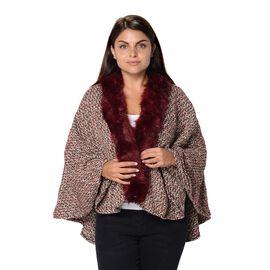Soft Winter Free Size Kimono with Faux Fur Collar (L-85 Cm) - White and Wine Mix