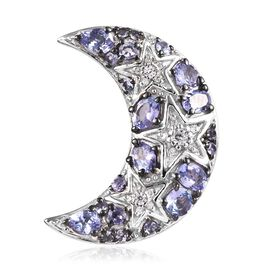 GP Tanzanite, Natural Cambodian Zircon and Blue Sapphire Crescent Moon Pendant in Platinum and Black