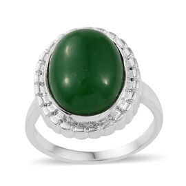 11.52 Ct Green Jade Solitaire Ring in Sterling Silver 5.46 Grams