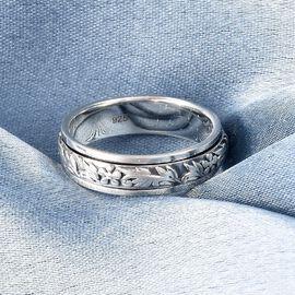 Platinum Overlay Sterling Silver Stackable Floral Vine Ring