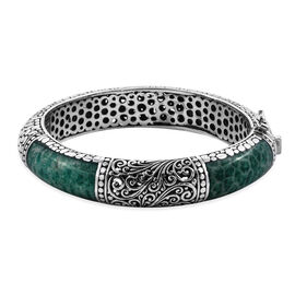 Royal Bali Green Coral Filigree Design Bangle in Sterling Silver 57 Grams 7.5 Inch