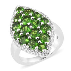 Russian Diopside (Rnd), Natural Cambodian Zircon Marquise Ring in Platinum Overlay Sterling Silver 4.250 Ct, Silver wt: 6.57 Gms.