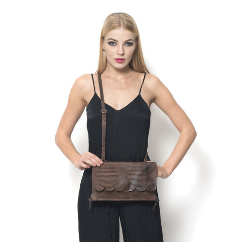 Georgia Genuine Leather Snake Embossed Chocolate Scalloped Bag with Adjustable Shoulder Strap (Size 28x15x6 Cm)