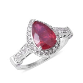 4.72 Ct African Ruby and Zircon Halo Ring in Rhodium Plated Silver