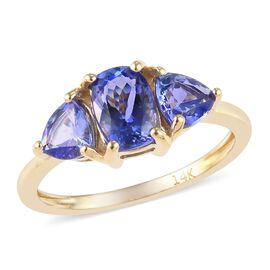 14K Yellow Gold Premium Tanzanite (Cush and Trl) Trilogy Ring 1.95 Ct.