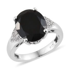 Black Tourmaline (Ovl 4.35 Ct), Natural Cambodian Zircon Ring in Platinum Overlay Sterling Silver 4.