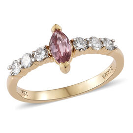 Extremely Rare-ILIANA 18K Yellow Gold AAA Padparadscha Sapphire (Mrq), Diamond (SI/G-H) Ring  0.750 Ct