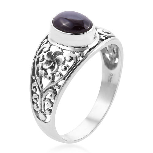 Royal Bali Collection - Star Garnet Ring in Sterling Silver 3.12 Ct.