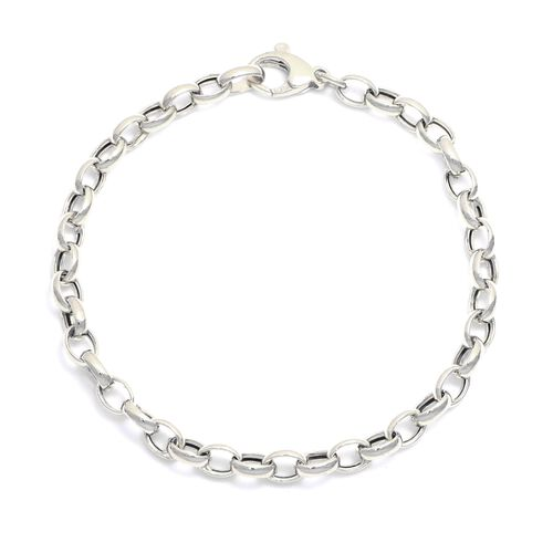 Viale Argento  Rhodium Overlay Sterling Silver Oval Rolo Necklace (Size 20)