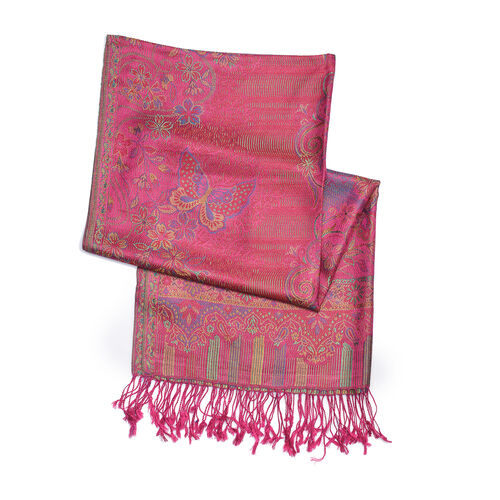 100% Silk Jacquard Fuschia, Green and Multi Colour Butterfly and Floral Pattern Scarf (Size 180x70 Cm)