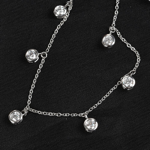 J Francis Platinum Overlay Sterling Silver Station Necklace (Size 18) made with SWAROVSKI ZIRCONIA 5.12 Ct