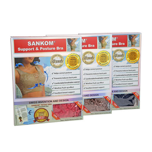 3 Piece Set- Sankom Patent Classic Bra With Lace (Size XL-XXL) - Colour Dark Blue, Taupe Brown and Garnet Pink