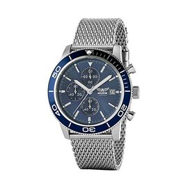 AVIATOR Blue Dial with Calendar and Water Resistant Chronograph Pilot Mens Watch with Stainless Stee