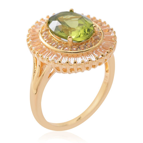 Extremely Rare Size- Hebei Peridot (Ovl 11X9MM 4.00 Ct), White Topaz Ring in Yellow Gold Overlay Sterling Silver 8.050 Ct.