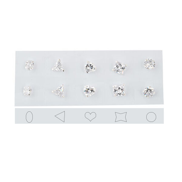 Set of 5 - Simulated Diamond Princess, Round, Oval, Heart and Trillion Shape Earrings (with INDIVIDU