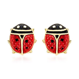 Children Ladybird Earrings in 9K Yellow Gold