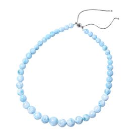 312 Ct Larimar Beaded Necklace in Rhodium Plated Sterling Silver Size 18 to 22 Inch Adjustable