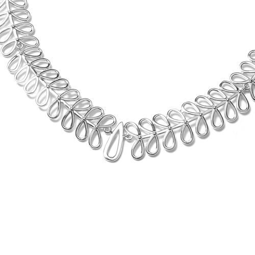 LucyQ Drop Necklace (Size 16 with 4 inch Extender) in Rhodium Overlay Sterling Silver