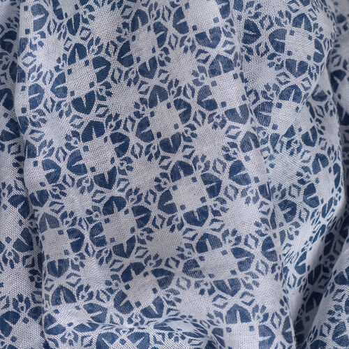 New for Season - Blue and Multi Colour Damask Printed Kaftan (Size 80x70 Cm)