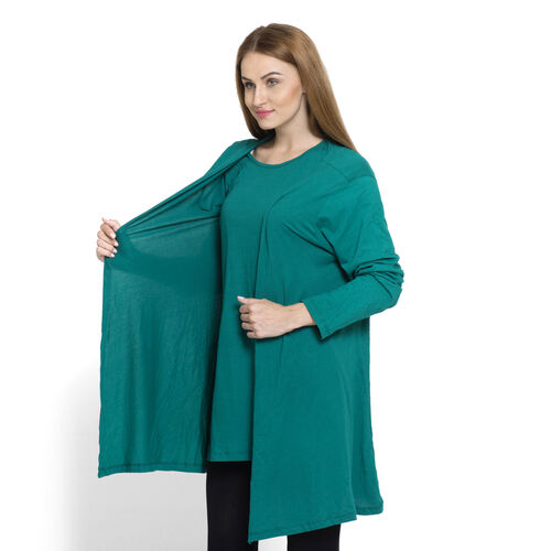 One Time Close Out Deal-Set of 2 - 100% Cotton Teal Colour Long Sleeve Tank Top (Size Small / Medium)