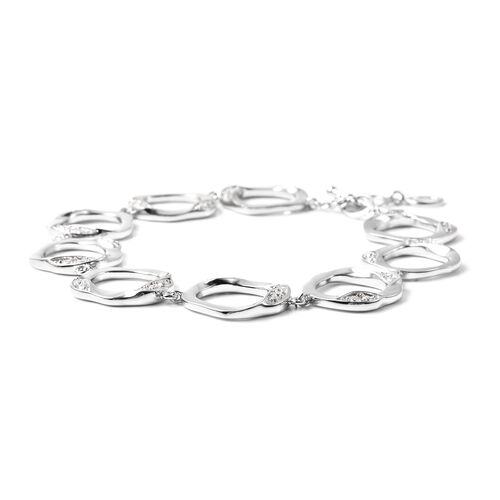 LucyQ - White Moissanite Fluid Design Bracelet (Size 7.25 with 1 inch Extender) in Rhodium Overlay Sterling Silver