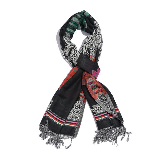 Black, Red and Multi Colour Floral Pattern Jacquard Reversible Scarf with Tassels (Size 180X70 Cm)