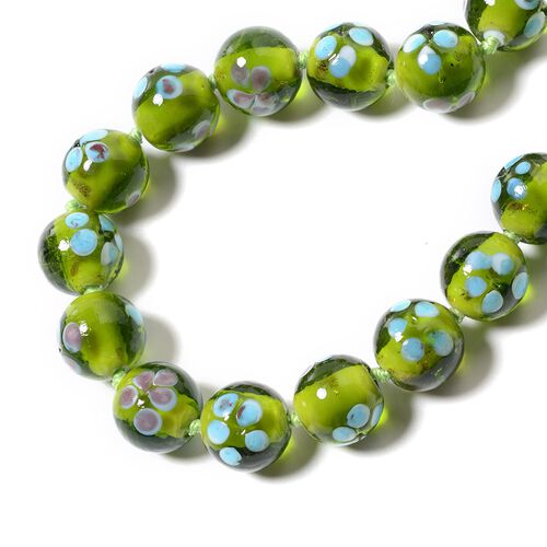 Millefiori Collection- Green Colour Murano Style  Glass Beads Necklace (Size 20) with Magnetic Lock