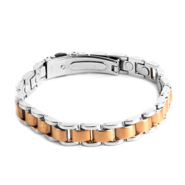 Designer Inspired-Stainless Steel Link Bracelet (Size 8).Steel Wt 43.65 Gms