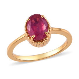 African Ruby Solitaire Ring in 14K Gold Overlay Sterling Silver 1.82 Ct.