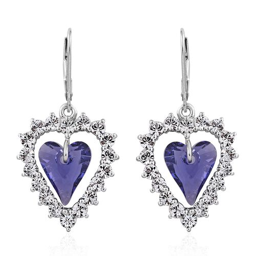 J Francis Crystal from Swarovski - Tanzanite Colour Crystal (Hrt), White Crystal Lever Back Earrings in Platinum Overlay Sterling Silver, Silver wt 5.01 Gms.