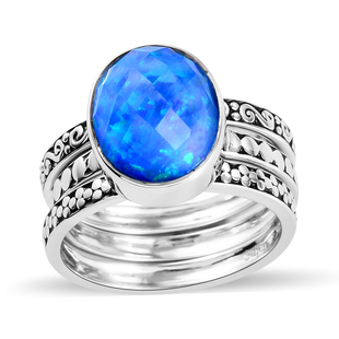 Sajen Silver Cultural Flair Collection- Set of 3 Quartz Doublet  Simulated Opal Blue Ring in Rhodium
