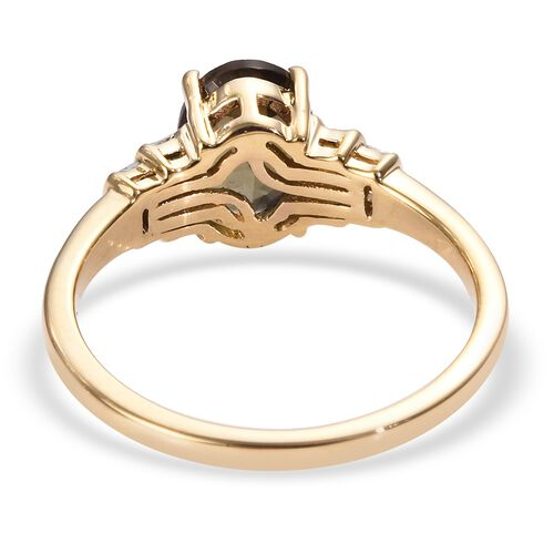 Close Out Deal- 14K Yellow Gold AAA Brazilian Andalusite (Ovl 8x6 mm), Diamond Ring 1.35 Ct.