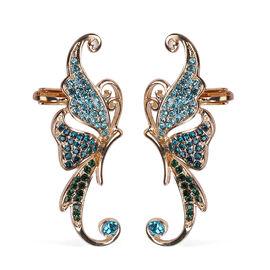 Blue and Green Austrian Crystal Earrings in Gold Tone