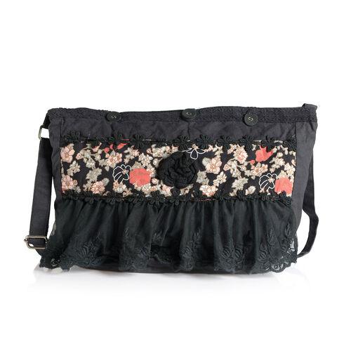 100% Cotton Floral Embroidered Black Colour Shoulder Bag with Lace (Size 35x30 Cm)